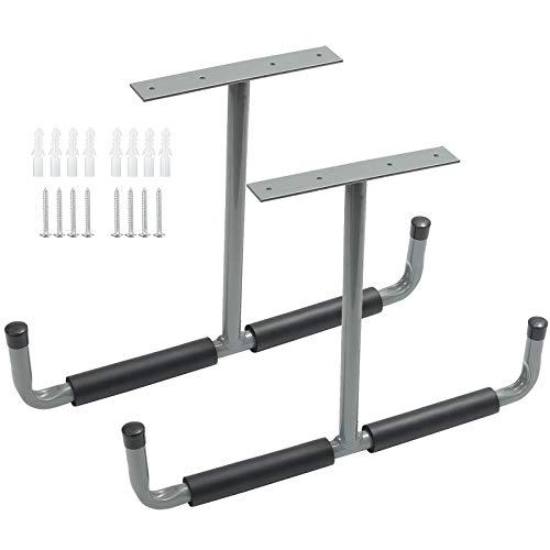 Decke Garagenhaken 42 cm, Überkopf Grau Stahl Doppelte Deckenhalterung Halterung für Leiter Werkzeug, Fahrräder, Sportgeräte, 2 Stück