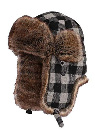 Insun Insun Unisex Fliegermütze Warme Trappermütze Bomber Hut Fellmütze Erwachsenen Winter Mütze für Herren und Damen Plaid Grau L (Hut Umfang:56cm)