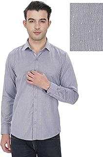 EnF Men Solid Casual Silver Men's Shirt