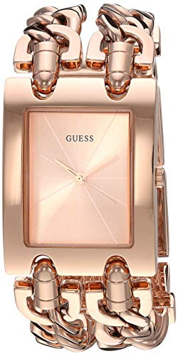 GUESS Rose Gold-Tone Multi-Chain Bracelet Watch with Self-Adjustable Links. Color: Rose Gold-Tone (Model: U1117L3)
