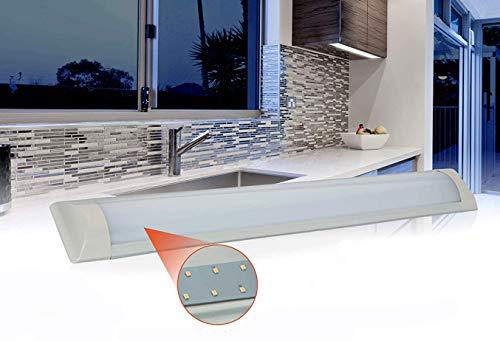 Lámpara LED de 4000 K, 18 W, 1400 lúmenes, iluminación de armarios de 60 cm, iluminación de superficie de trabajo, lámpara de forma estrecha de 230 V [Clase energética A+]