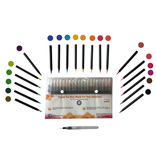 Watercolor Brush Pens - Best For Kids And Adult Coloring Books, Drawing, Calligraphy - Soft Tip Markers - Ultra Vibrant Colors - 20 Color Pen Set - Extra 1 Refillable Water Pen - Makes A Great Gift