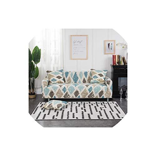 XUELI Funda de sofá con estampado de hojas, de algodón, elástica, para sala de estar, mascotas, funda de sofá de 1/2/3/4 plazas, yulanhuahui, 2 asientos 145-185cm-Yuyun-1-Seat90-140cm