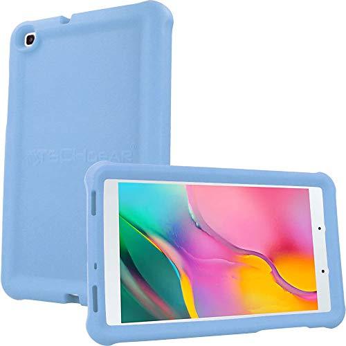 TECHGEAR Funda Diseñado para Nuevo Samsung Galaxy Tab A 8.0' 2019 (SM-T290/SM-T295) Resistente Antideslizante a Prueba de Golpes de Silicona Suave Funda Niños + Protector de Pantalla [Azul Claro]
