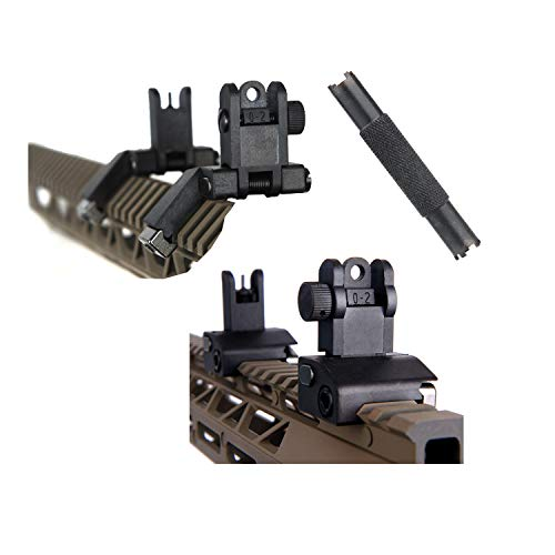 Ultralight 2 Pcs 45 90 Degree Flip Up Backup Battle Sight Offset Rapid Transition Front and Backup Rear Sights Includes Front Sight Adjustment Tool