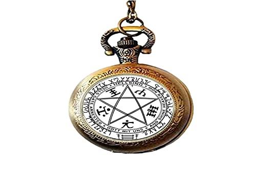 Alucard Amulett Pentagramm Glas Kunst Foto Taschenuhr Halskette Herren Damen Schmuck