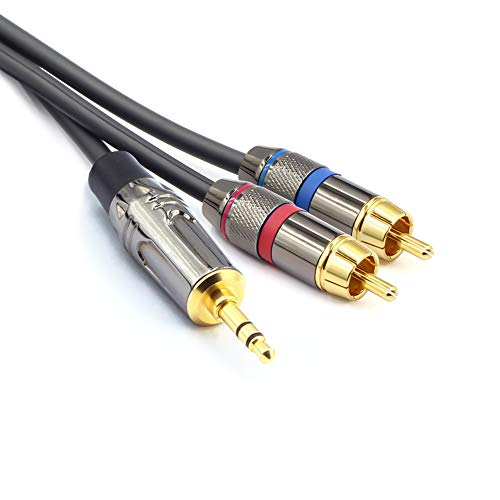 TISINO RCA to 3.5mm Cable, 3.5mm (1/8 Inch) Stereo Male to Dual RCA Male Plug Audio Y Cable - RCA to AUX 10 FT / 3m