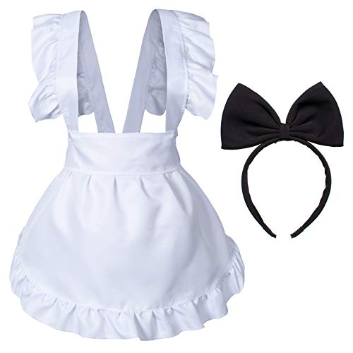 Fancy Cute White Retro Frilly Adorable Maid Waitress Aprons Vintage Costume Bow Headdress Gloves Set