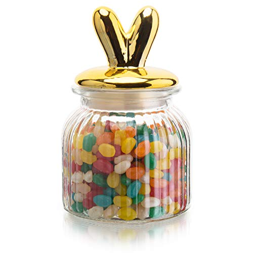 MyGift Glass Cookie/Candy Jar with Decorative Gold Bunny Rabbit Ears Lid