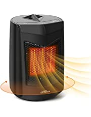 Mini Calefactor ECO Cerámico, VACPOWER Calefactor eléctrico de cerámica oscilante de 850W- Para uso en la Oficina, Casas, Dormitorio- negro