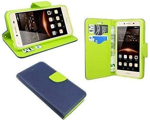 ENERGMiX Elegante Buch-Tasche kompatibel mit Huawei Y5 II (2) in Blau-Grün (2-Farbig) Wallet Book-Style Zubehör Schale Flip-Cover Etui Tasche Hülle