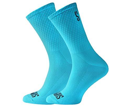 Support Calcetines de Ciclismo para Hombres tecnología Transpirable Fibra Antideslizante Divertidos Unisex Ciclistas para Senderismo Caminata Escalada Ciclismo, Blue