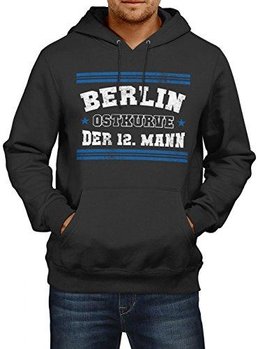 Shirt Happenz Berlin #1 Premium Hoodie | Fussball | Fan-Trikot | #Jeden-Verdammten-Samstag | Herren | Kapuzenpullover, Farbe:Schwarz;Größe:5XL