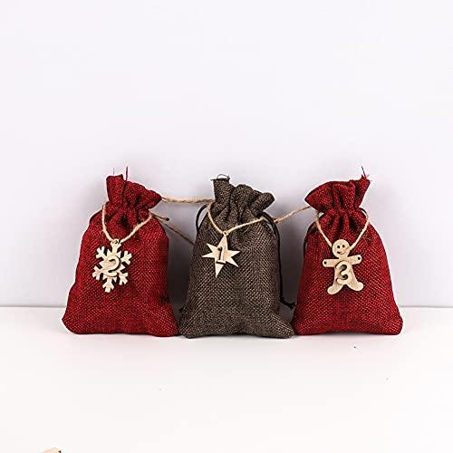 Ruipunuosi 24pcs Bolsa de regalo de Navidad con el cordón mejora la bolsa de Navidad bolsa de arpillera Bolsa de caramelo bolsa de bocadillos para niños Favores de fiesta de Navidad