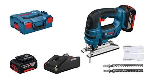 Bosch Professional 06015A6106 GST 18V-LI B (2x 4,0 Ah accu, 18 V, zaagdiepte hout: 120 mm, in L-BOXX)