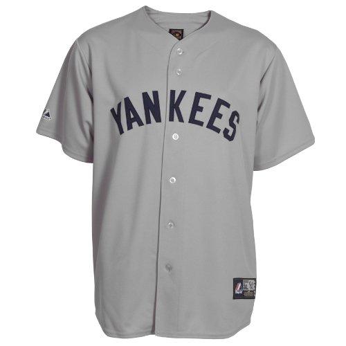 Majestic MLB New York Yankees 1927 Cooperstown Synthetic Replica Baseball Trikot, Yankee Grey, Herren, Yankee Grey, Small