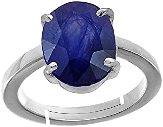 GEMS HUB Blue Sapphire/Neelam 4.8 Cts Or 5.25Ratti Stone 92.5 Sterling Silver Adjustable Ring For Women By