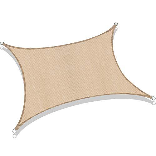 ROYAMY 8' x 10' Sun Shade Sail Rectangle, UV Block Sun Shades Canopy for Patios, Beige