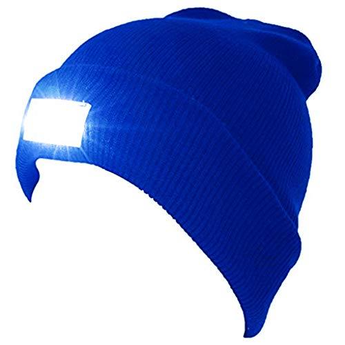 最新のベスト ハンティング、キャンプ、グリル、自動車修理、ジョギング、ウォーキング、または便利屋作業用のユニセックス5 LEDニット懐中電灯ビーニー帽子/キャップ (青)