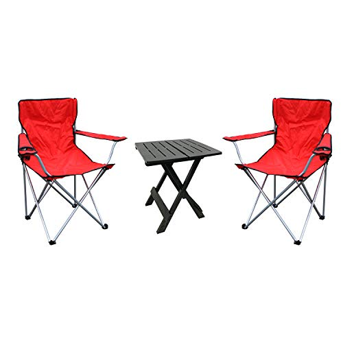 Mojawo 3-Piece Set Camping Set 1x Side Table Anthracite Garden Furniture Set of 2 Folding Camping Chair Red