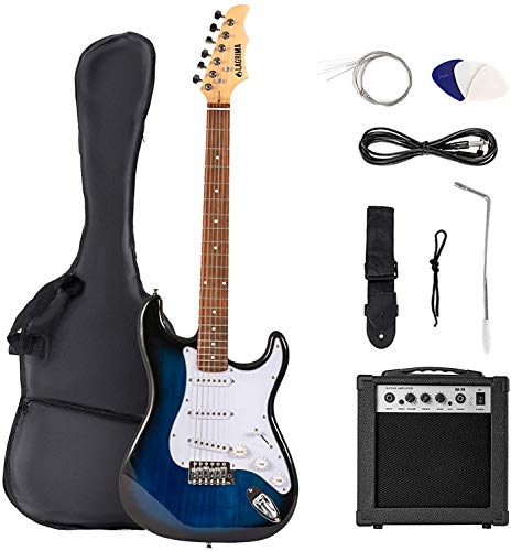 LAGRIMA 39 Inch Full Size Solid Electric Guitar Beginner Kit with 20W...