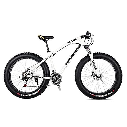 SFSGH Bicicleta de montaña, Bicicleta de Carretera para Adultos, 24 Pulgadas, 21/24/27 velocidades, Hombres, Mujer, Aceite, Resorte, Horquilla, Horquilla Delantera, Paseo, Blanco, 20 27