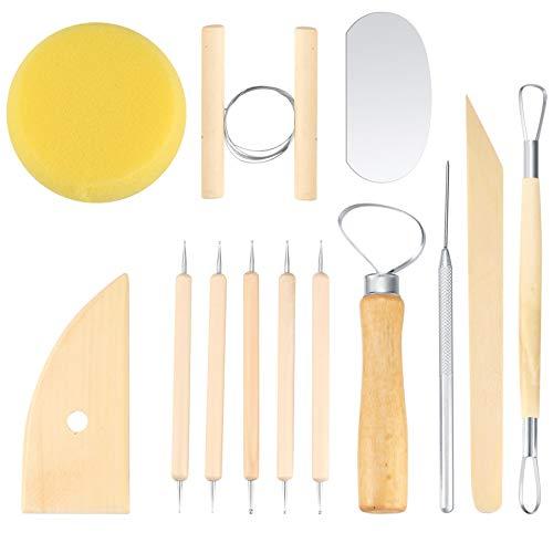 12 Pezzi Argilla da Modellare, Ceramica da Modellare, Argilla Set Di Ceramiche, Argilla Intaglio Strumento Mestiere per Argilla Scolpire, Intaglio, Raschiatura, Modellazione, Stampini