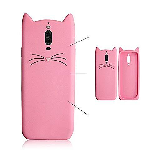 SevenPanda Silikon Schutzhülle Tasche für iPhone 12 Mini 5.4 Zoll, Silikon 3D Cartoon Mode Cute Beard Schön Katze Weich Zurück Cover mit Anti-Kratzer Stoßdämpfende Schutz Tasche Schale Bumper - Rosa