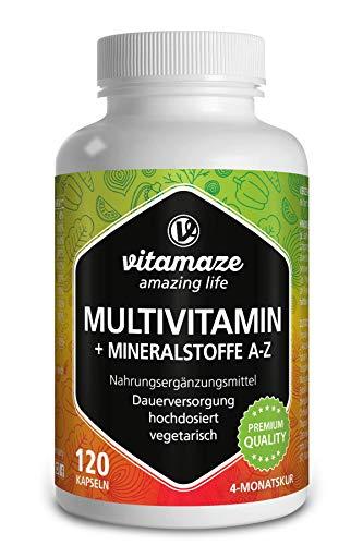 Multivitamin Kapseln hochdosiert, 23 wertvolle Vitamine A-Z & Mineralien, 120 vegetarische Kapseln für 4 Monate, Vitamine, Mineralstoffe & Spurenelemente optimal kombiniert, Made in Germany