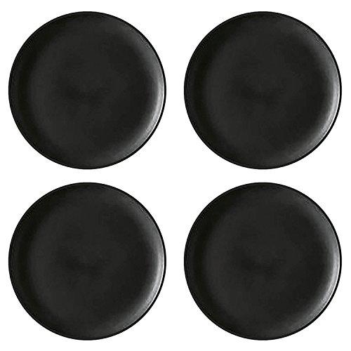 GUSTA 2263160 'Tables Tales' Speiseteller, Porzellan, Ø 26,5 cm, solid matt, schwarz (4er Pack)