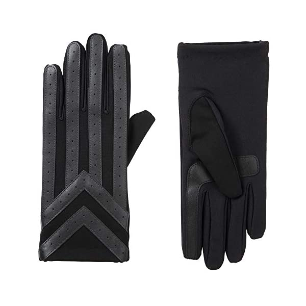 isotoner Men's Spandex Touchscreen Cold Weather Gloves with Warm Fleece Lining and Chevron Details