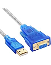 USB 2.0 to RS232 Female DB9 Serial Adapter Cable (Clear Blue) 1 Meters, with CD / PL2303 Chipset/Support 98/ME/2000/2003/2008/Andoid/XP/win7 8 8.1 10/Mac OS/Linux.