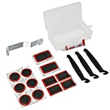 MILIWAN Kit per Riparazione Pneumatici di Bicicletta o Moto, Kit di Toppe per Riparazione Camera d'Aria, Confezione da 17 Pezzi