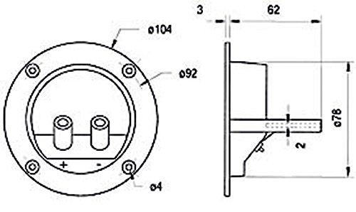 Visaton Einbaulautsprecher, Rundes Schraubterminal mit vergoldeten Anschlüssen und Zwei Halterungen zur Aufnahme (973977000108)