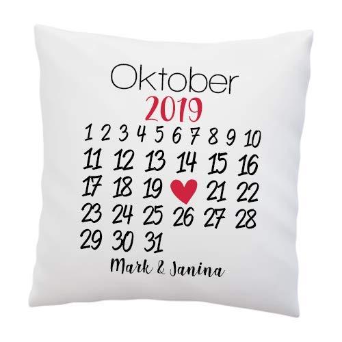 Liebes Kissen mit Spruch ''Kalender'' - Personalisiert Freundin, Frau - Liebe - Liebesbeweis - Hochzeit - Romantisch (mit Kissen)