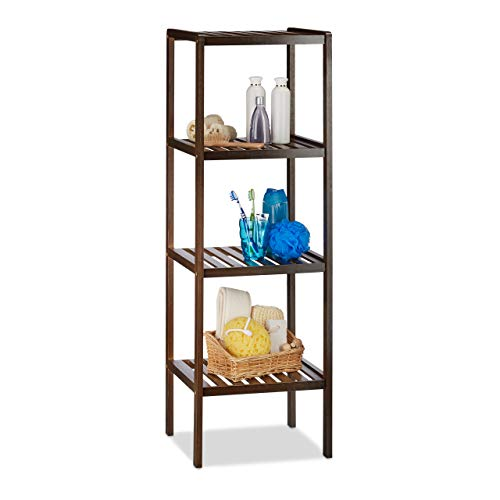 Relaxdays Estantería de baño bambú con 4 estantes, 110 x 34,5 x 33 cm, alta estantería de pie, madera, marrón obscuro