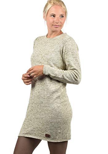BlendShe Danielle Damen Strickkleid Feinstrick Kleid Mit Rundhals Aus 100% Baumwolle, Größe:S, Farbe:Bone White (70016)