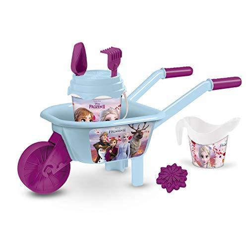 Mondo- Disney Frozen Toys 2 Wheelbarrow Set Spiaggia per Bambini-Il Gioco Include carriola, Secchiello, Paletta, rastrello innaffiatoio-28283, Multicolore, 28283