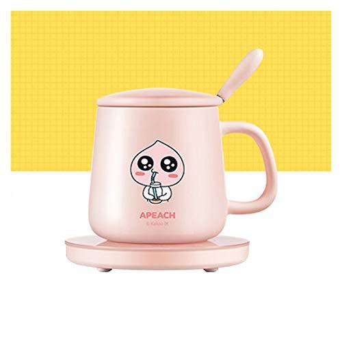 JJH Lindo Cartera de calefacción de Dibujos Animados con Taza, Taza de café Set de Calentador, Alimentado por USB Auto Apagado Calentador de Bebidas para el Agua de la Leche de té (2 Colores)