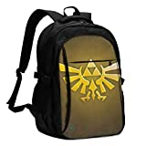 Legend of Zeldaa Mochila Travel Laptop Backpack with Puerto de Carga USB Headphone Interface College Bookbag para Mujeres Hombres niños Business Travel Anti Theft Backpack