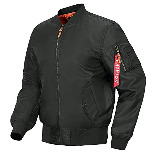 MANSDOUR Men's Lightweight Bomber Jacket Fall Windproof Causal Varsity Flight Jacket Windbreaker Outerwear Black