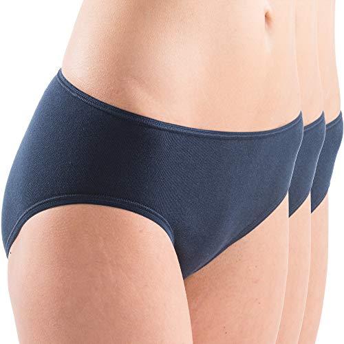 HERMKO 5031 3er Pack Damen Midi-Slip aus 95% Baumwolle + 5% Elastan, Farbe:Marine, Größe:40/42 (M)