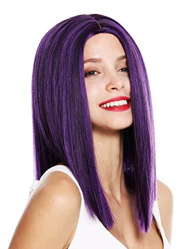WIG ME UP - VK-51-4SPBLUE Perruque dame hauteur d'épaules lisse blunt cut raie centrale violet brun