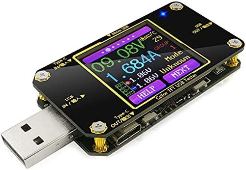 USBマルチメータUSB電圧計 電流計負荷テスターUSB電圧電流PDバッテリ電力容量の充電器デジタルタイプCメーターテスターカラーLCDディスプレイケーブル抵抗QC2.0 / 3.0 4.0 MTK A3-B (Gray)