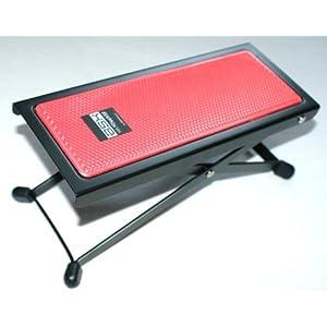 BASIX Gitarren-Fußbank aus Metall mit rutschfester Kunststoffauflage in rot – einfache Höhenverstellung durch Raster (Fußbänkchen)