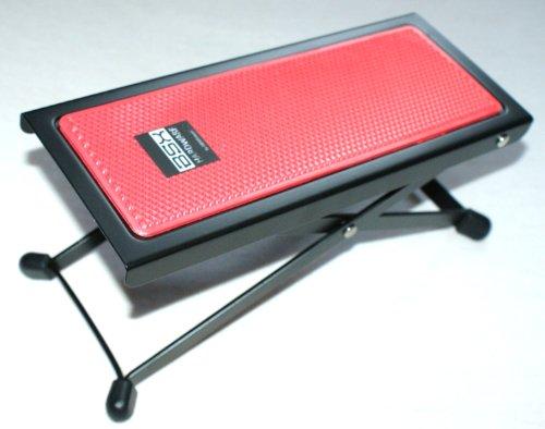 BASIX Gitarren-Fußbank aus Metall mit rutschfester Kunststoffauflage in rot - einfache Höhenverstellung durch Raster (Fußbänkchen)