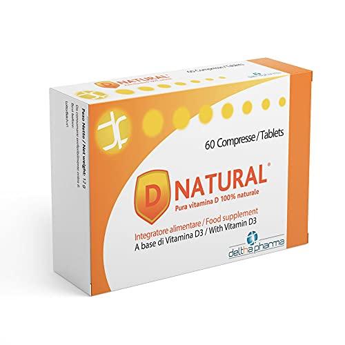 D NATURAL Pura vit. D 100% naturale da Lichene 1000 UI - per l'assorbimento di calcio e fosforo, per il normale funzionamento del sistema muscolare e di quello immunitario, adatta ai bambini, 60 cpr