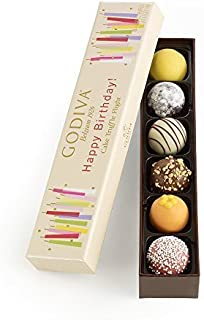 Godiva Chocolatier Happy Birthday Cake Chocolate Truffle Flight, Great for any gift, Birthday Gift, Easter Gifts, Easter Baskets, Easter Chocolate, 6 Count