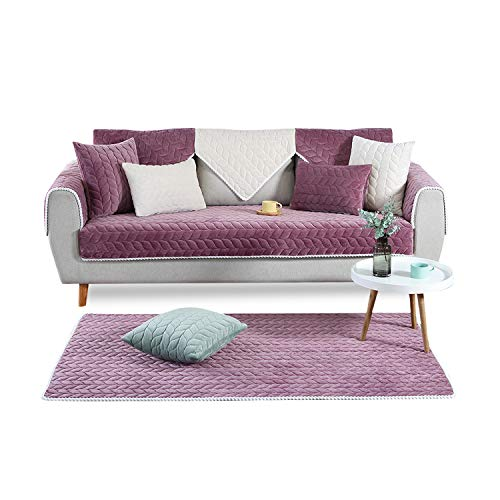 PETCUTE Sofaüberwurf couchbezug sofahusse Gesteppte Sofabezüge Sofa Schonbezug Couch Sofa überwurf ecksofa Lila 90X160cm