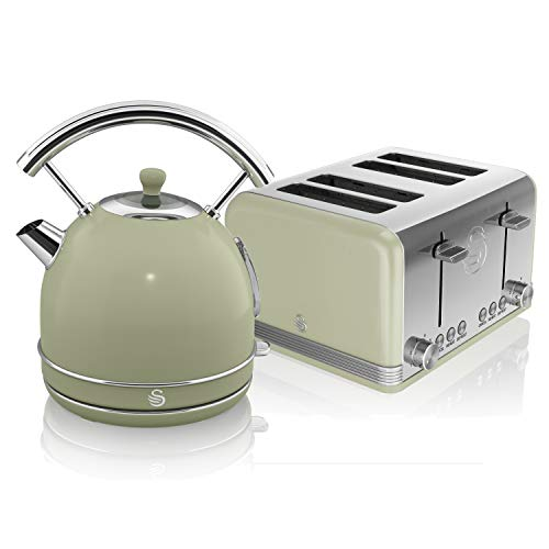 Swan, Retro Kitchen Kettle and Toaster Set, 1.8L Dome Kettle, 4 Slice Toaster, (Green)